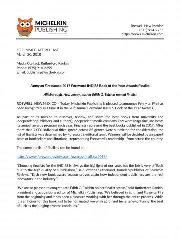 Forward Award Press Release
